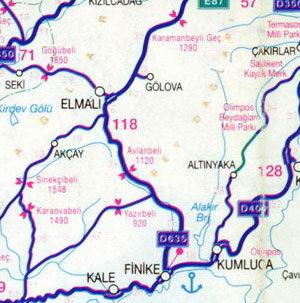 Karta Turcii Zapadnye Rajony Turcii Dalaman Fethije Burdur
