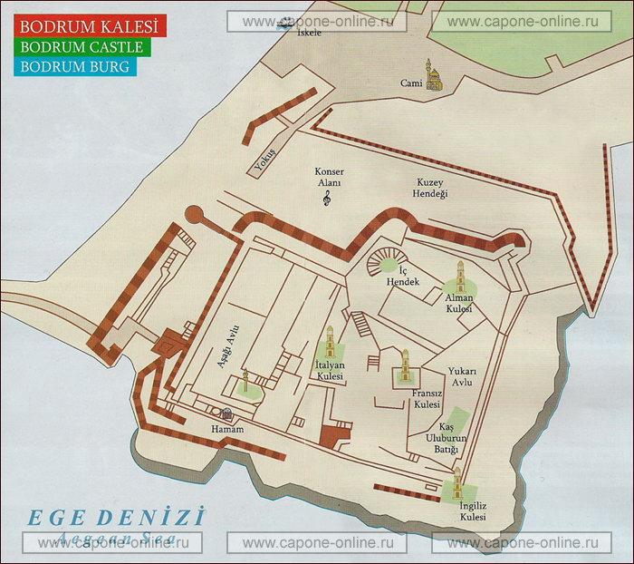 План замок Кале в Бодруме
