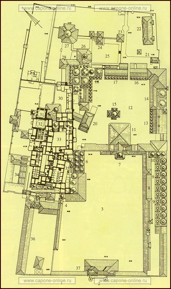 Карта дворца Топкапы в