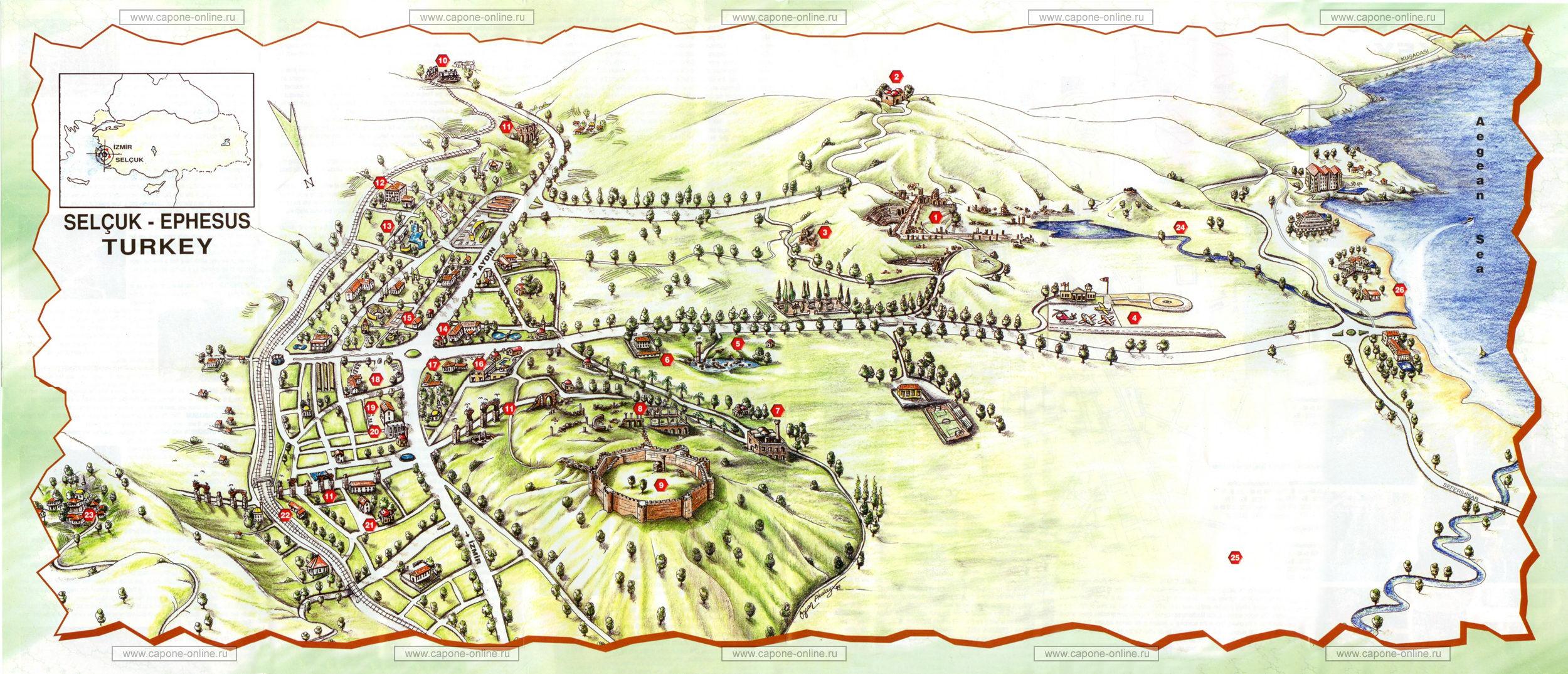 Подробная туристическая план-схема турецкого города Сельчук и окрестностей.