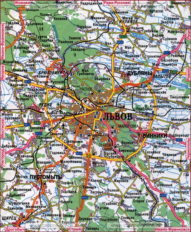 Карта окрестности Львова