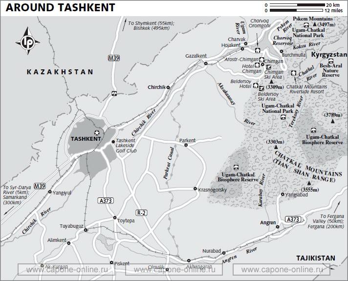 Карта окрестности Ташкента