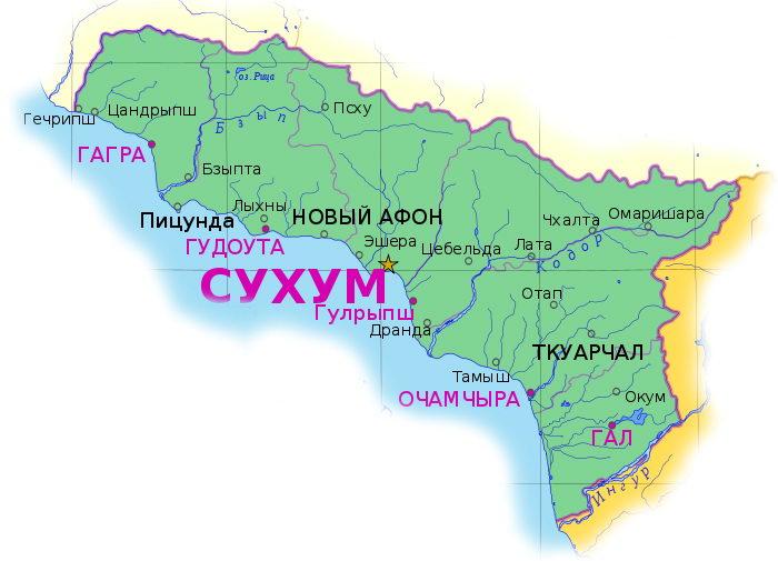 Погодная карта Абхазии