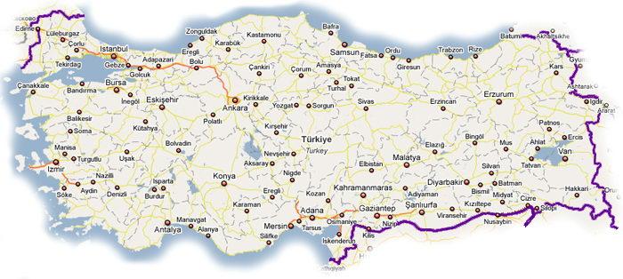 Погодная карта Турции